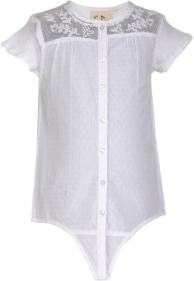 Budding Bees Girl's Solid Casual White Shirt