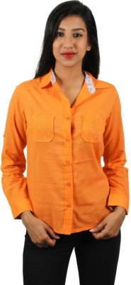 Old Khaki Women's Solid Casual Orange Shirt