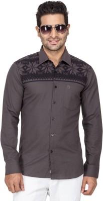 Laven Men's Self Design Casual Black Shirt