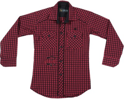 Buds N Blossoms Boy's Checkered Casual Red, Black Shirt