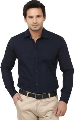 Vkg Men's Solid Formal Blue Shirt