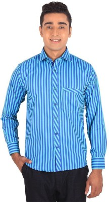 Henry Spark Men's Striped Casual Blue Shirt