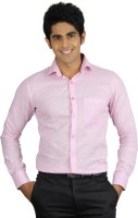 Nexq Formal Shirts (Men's) - Nexq Men's Solid Formal Linen Pink Shirt
