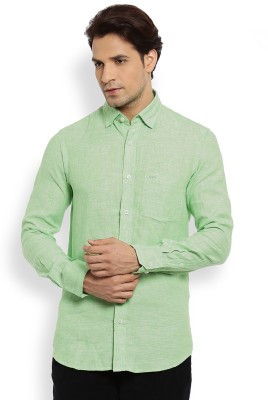 Color Plus Men's Solid Casual Linen Green Shirt