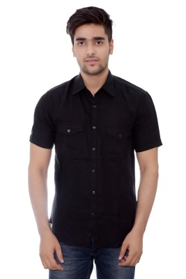 Parv Collections Men's Solid Casual Black Shirt