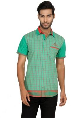 Macoro Men,s Checkered Casual Green Shirt