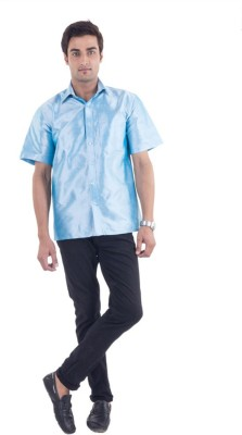 Scot Wilson Men,s Solid Casual Blue Shirt