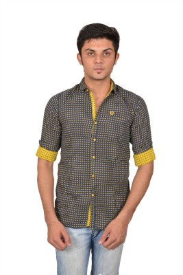 Suzee Men's Printed Casual Blue, Yellow Shirt