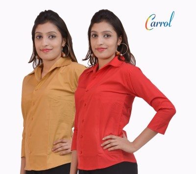 carrol Women,s, Girl's Solid Formal, Casual Red, Brown Shirt