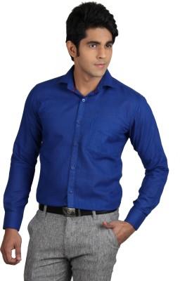 Nexq Men's Solid Formal Linen Blue Shirt