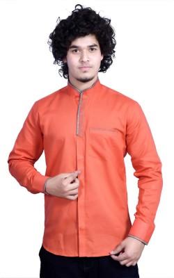 Bucci Men's Solid Casual Orange Shirt