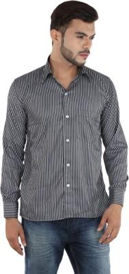 FDS Men,s Striped Casual White, Black Shirt