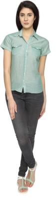 Texco Garments Women's Striped Casual Green Shirt