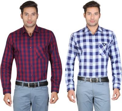 Don Vino Men's Checkered Casual Blue, Maroon Shirt