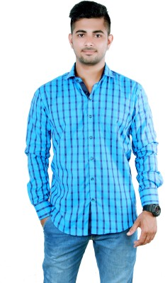 Players King Men's Checkered Casual Reversible Blue, Light Blue Shirt