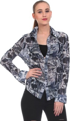 Wild Hawk Women's Printed Casual Grey Shirt