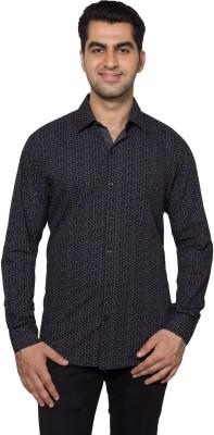 Hancock Men's Printed Casual Black Shirt