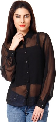 Hermosear Women's Solid Casual Black Shirt