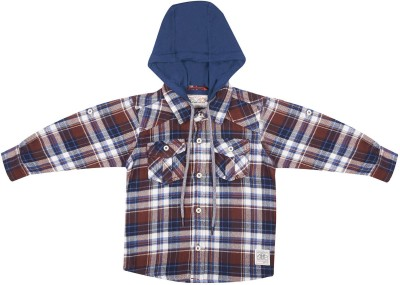 Wow Mom Baby Boy's Checkered Casual Brown Shirt
