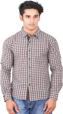 Rat Trap Men's Checkered Casual Brown, White Shirt