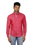 V Seven Men's Solid Casual Linen Pink Sh...
