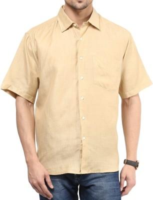 Vivid India Men's Solid Casual Linen Brown Shirt