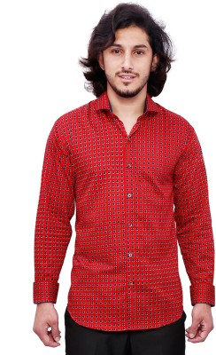 Dave Men's Graphic Print Casual Red Shirt