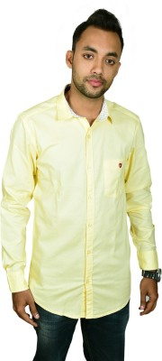 Leaf Star Men's Solid Casual Yellow Shirt