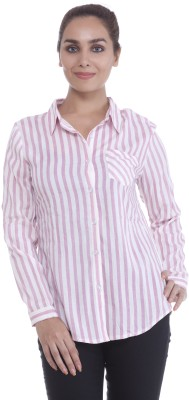 Revoure Women's Striped Formal White, Pink Shirt
