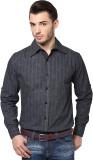 PUNK Men's Paisley Casual Grey Shirt