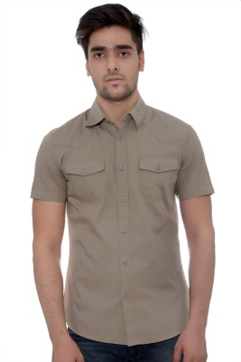 Parv Collections Men's Solid Casual Grey Shirt