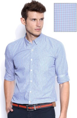 Mast & Harbour Men's Checkered Formal Purple Shirt