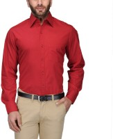 Willowy Formal Shirts (Men's) - WILLOWY Men's Solid Formal Red Shirt