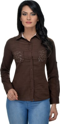 Urban Republic Women's Solid Casual Brown Shirt