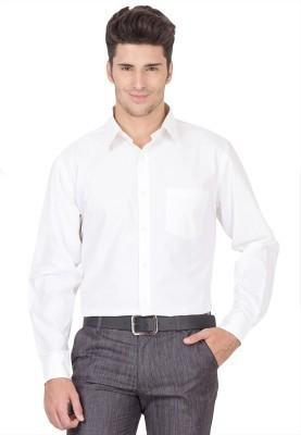 Ramani Men's Solid Wedding, Formal, Festive White Shirt