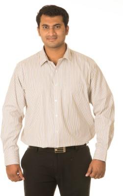 West Vogue Men's Striped Formal White, Beige Shirt