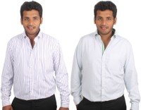 Maharaja Formal Shirts (Men's) - Maharaja Men's Checkered, Striped Formal White, Green Shirt(Pack of 2)