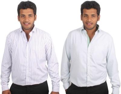 Maharaja Men's Checkered, Striped Formal White, Green Shirt