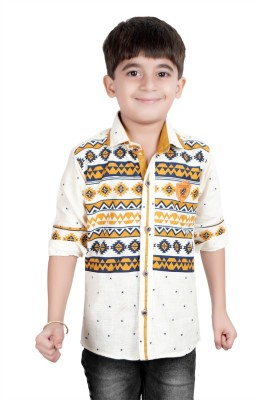Ice Blue Boy's Floral Print Casual Yellow Shirt