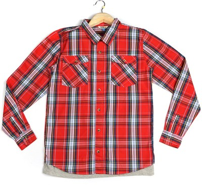 People Boy's Checkered Casual Red Shirt