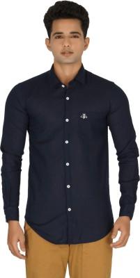 Rug Bee Men's Solid Casual Linen Dark Blue Shirt