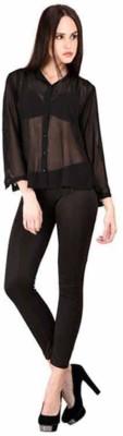 Raabta Fashion Women's Solid Casual Black Shirt