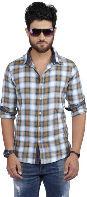 Nostrum Jeans Men's Checkered Casual Gold Shirt