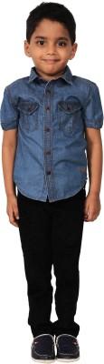 I-Voc Boy's Solid Casual Blue Shirt