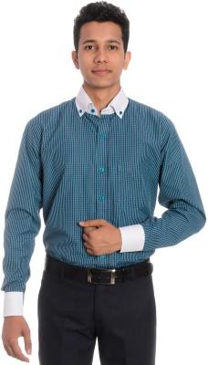 Tag & Trend Men's Checkered Formal Green Shirt