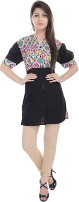 e-wa Women's Printed Casual Black Shirt