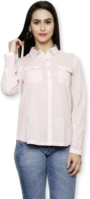 Pear Blossom Women's Solid Casual Pink Shirt