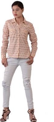 Fashnopolism Women's Geometric Print Casual Yellow, Pink Shirt