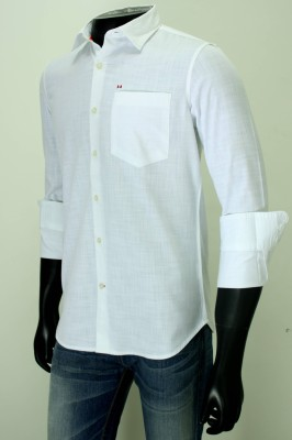 Enryca Men's Solid Casual White Shirt