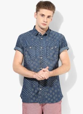 Jack & Jones Men's Printed Casual Dark Blue Shirt
